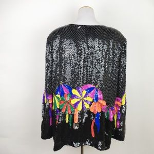 VTG Heavily Beaded Jacket Mod Dancing Flower Vegas